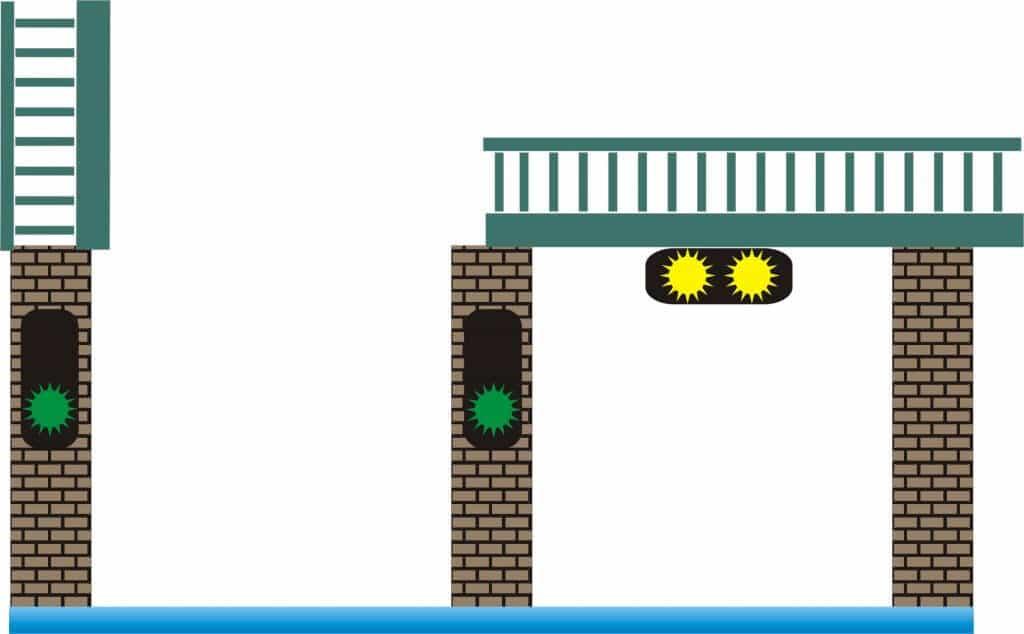 brug beweegbaar, geopend, doorvaart toegestaan
